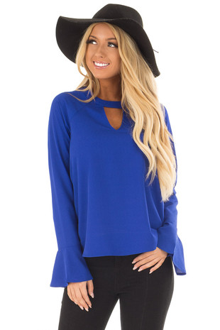 Royal Blue Long Sleeve Top with V Cut Out front close up