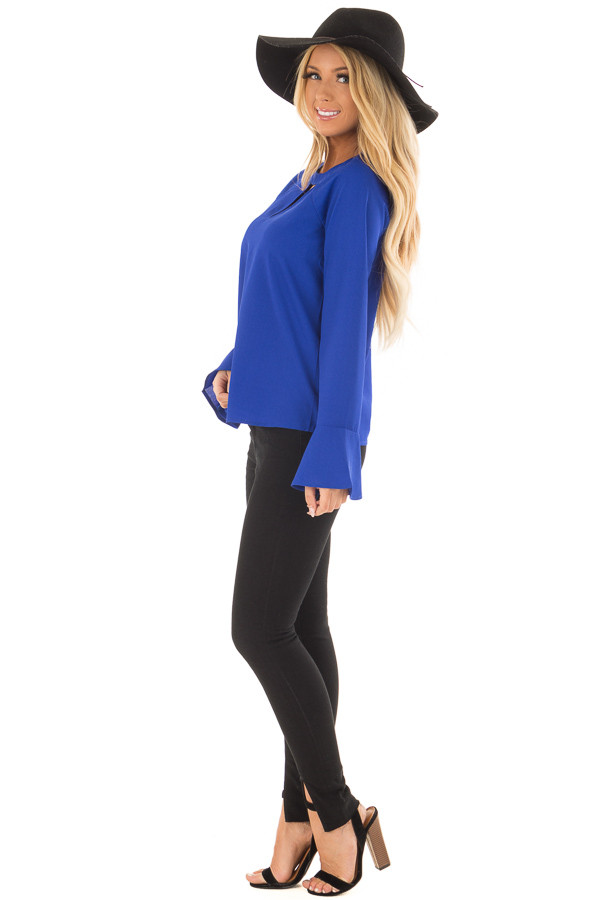 Royal Blue Long Sleeve Top with V Cut Out side full body