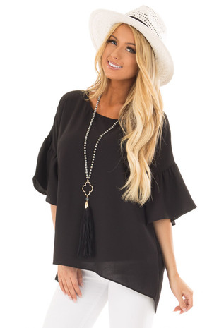 Black Bell Sleeve Top front close up