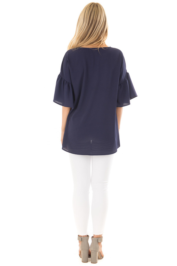 Navy Bell Sleeve Top back full body