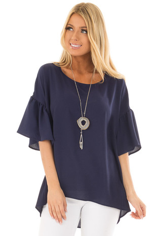 Navy Bell Sleeve Top front close up