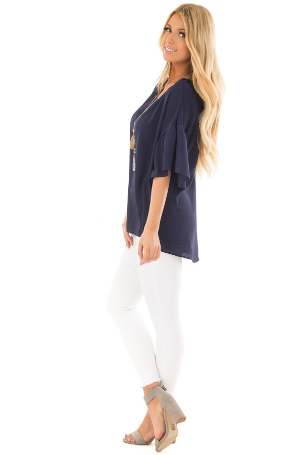 Navy Bell Sleeve Top side full body