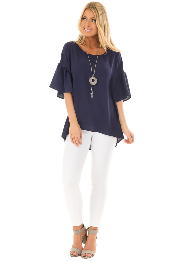 Navy Bell Sleeve Top front full body