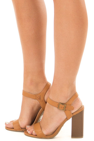 Tan Faux Leather High Heel Open Toe Sandal side view