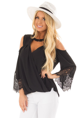 Black Surplice Cold Shoulder Blouse with Chest Cutout front close up