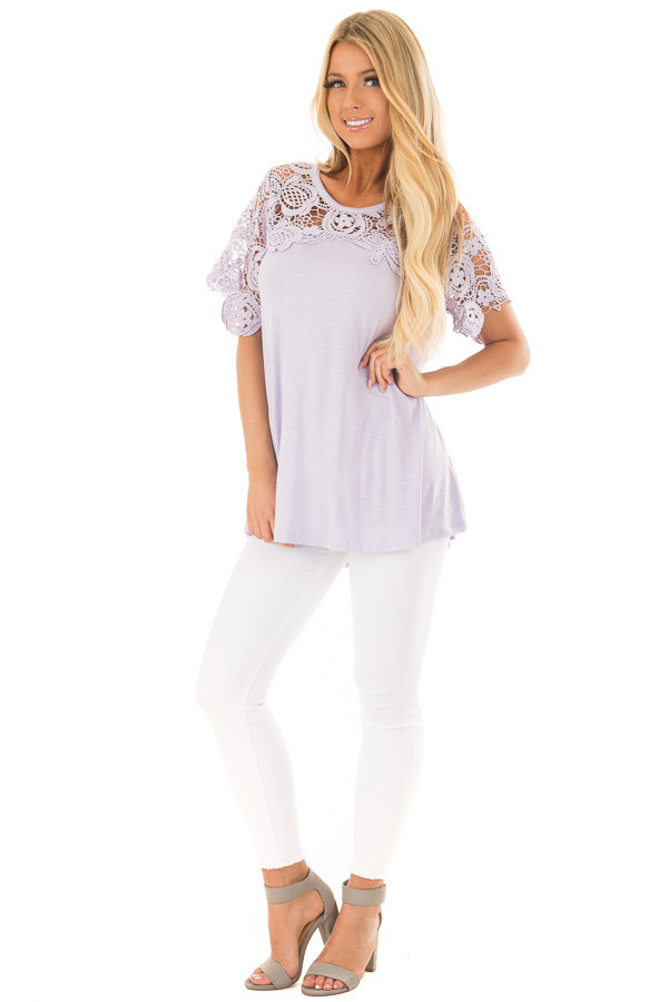 Lavender Short Sleeve Floral Lace Yoke Top front full body