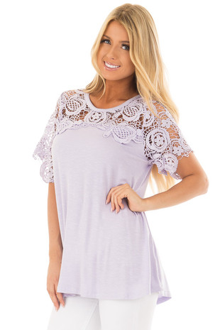 Lavender Short Sleeve Floral Lace Yoke Top front close up