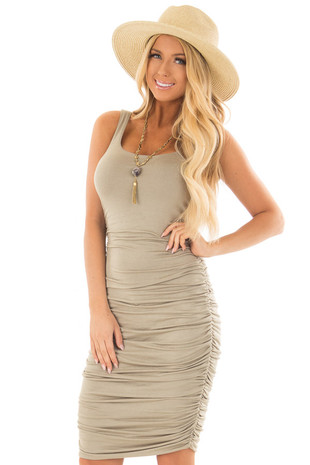 Sage Tank Top Dress with Side Ruching front close up