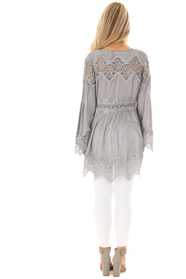 Grey Scallop Edged Crochet Detailed High-Low Tunic Top back full body