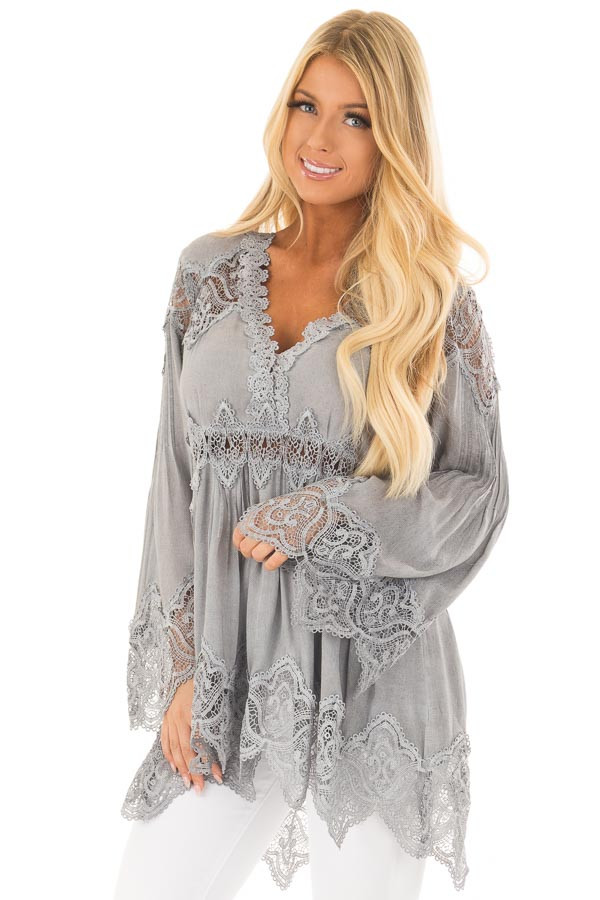 Grey Scallop Edged Crochet Detailed High-Low Tunic Top front close up