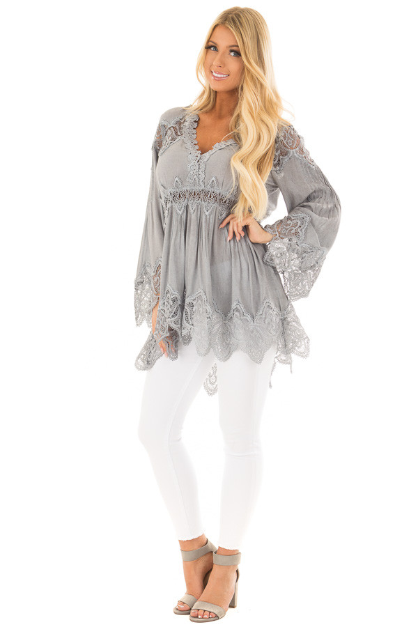 Grey Scallop Edged Crochet Detailed High-Low Tunic Top front full body