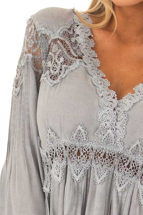 Grey Scallop Edged Crochet Detailed High-Low Tunic Top detail