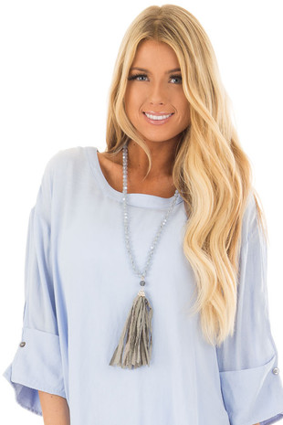 Grey Beaded Necklace with Tassel and Rhinestone Details