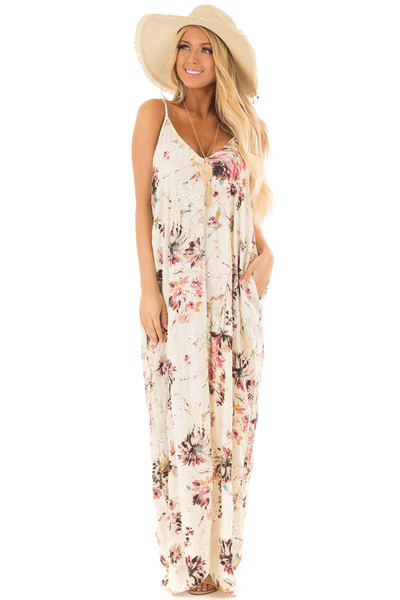 Cream Floral Print Sleeveless Cocoon Maxi Dress front full body