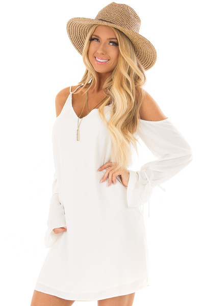 Off White Cold Shoulder Dress with Sleeve Tie Details front close up