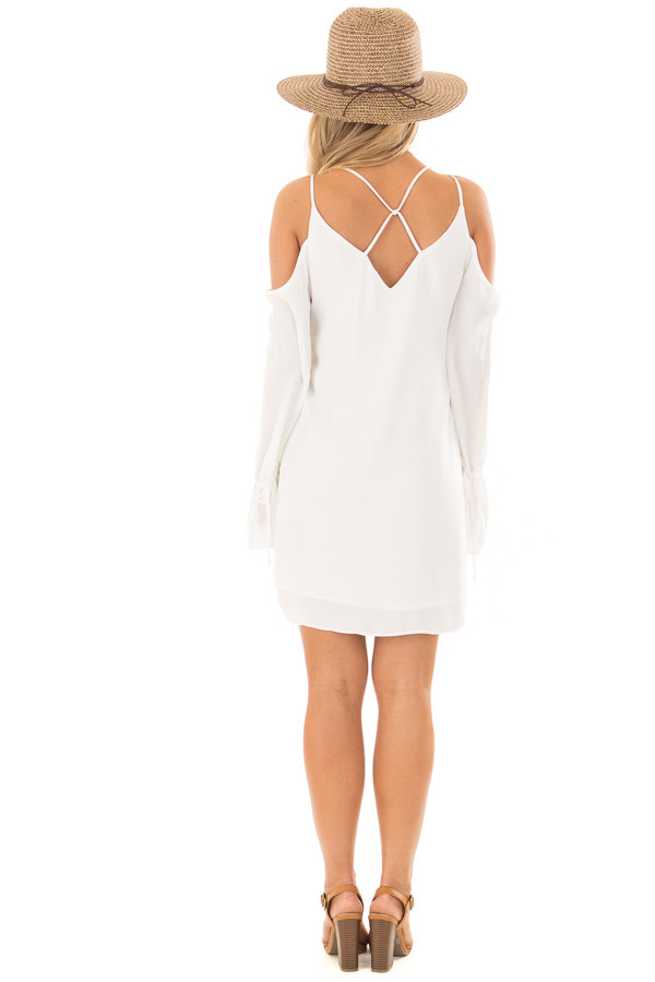 Off White Cold Shoulder Dress with Sleeve Tie Details back full body