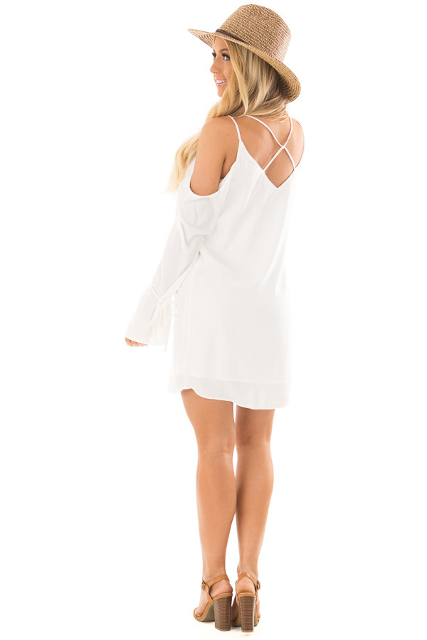 Off White Cold Shoulder Dress with Sleeve Tie Details back side full body