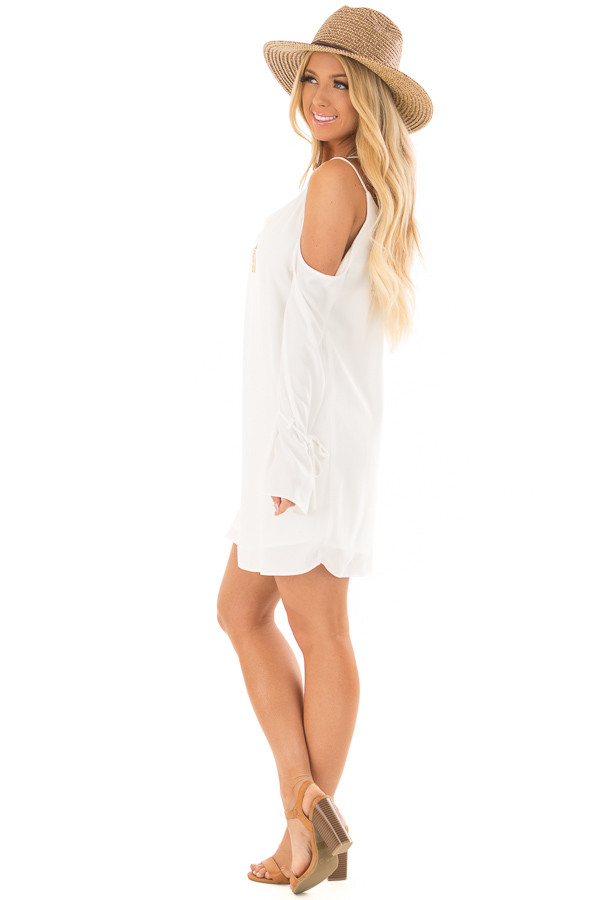 Off White Cold Shoulder Dress with Sleeve Tie Details side full body