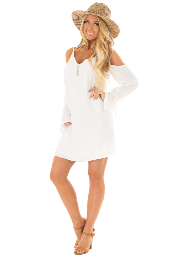Off White Cold Shoulder Dress with Sleeve Tie Details front full body