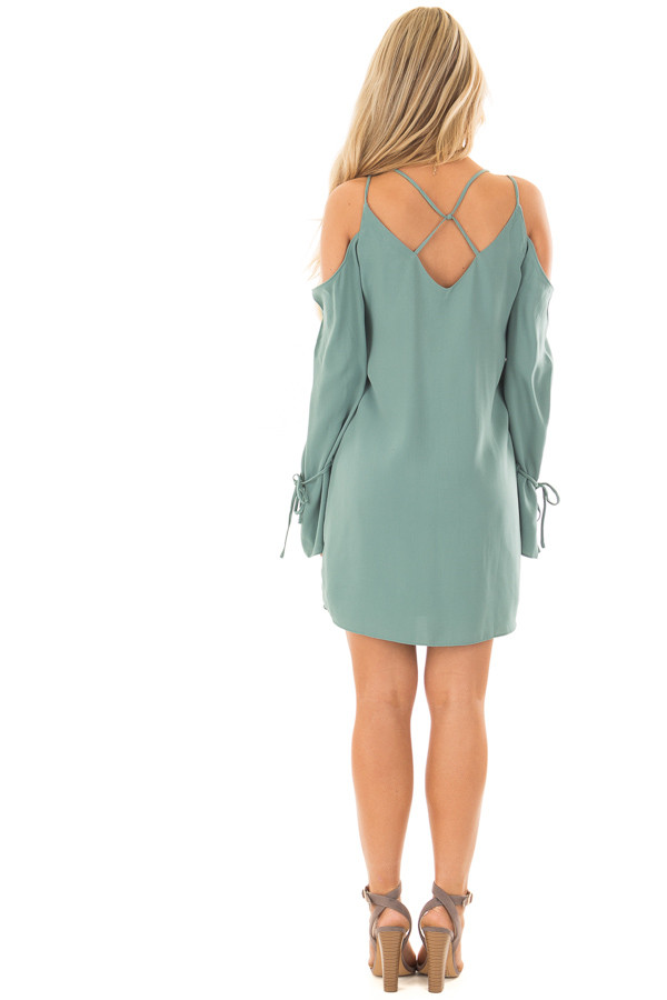 Moss Green Cold Shoulder Dress with Sleeve Tie Details back full body