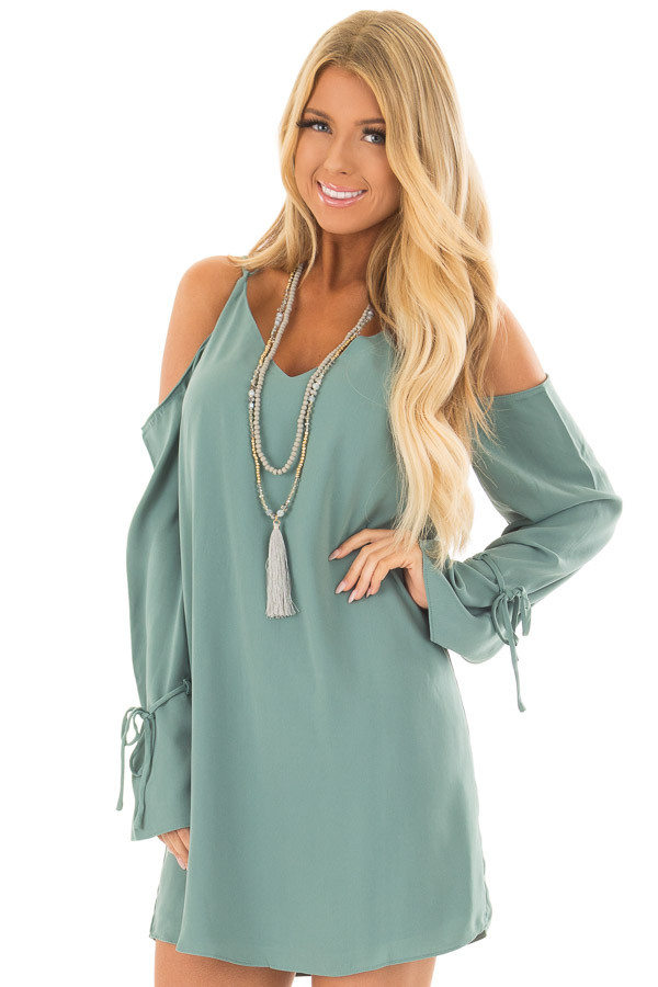 Moss Green Cold Shoulder Dress with Sleeve Tie Details front close up