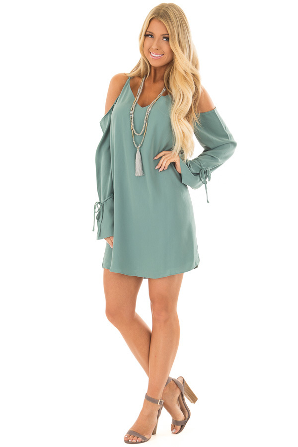Moss Green Cold Shoulder Dress with Sleeve Tie Details front full body