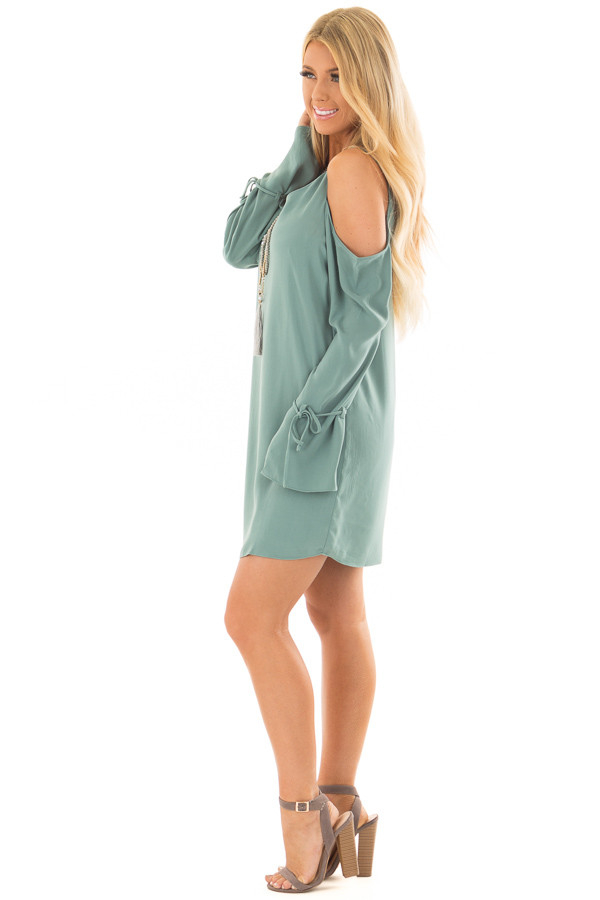 Moss Green Cold Shoulder Dress with Sleeve Tie Details side full body