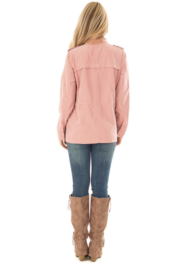 Light Pink Jacket with Waist Tie and Pockets back full body
