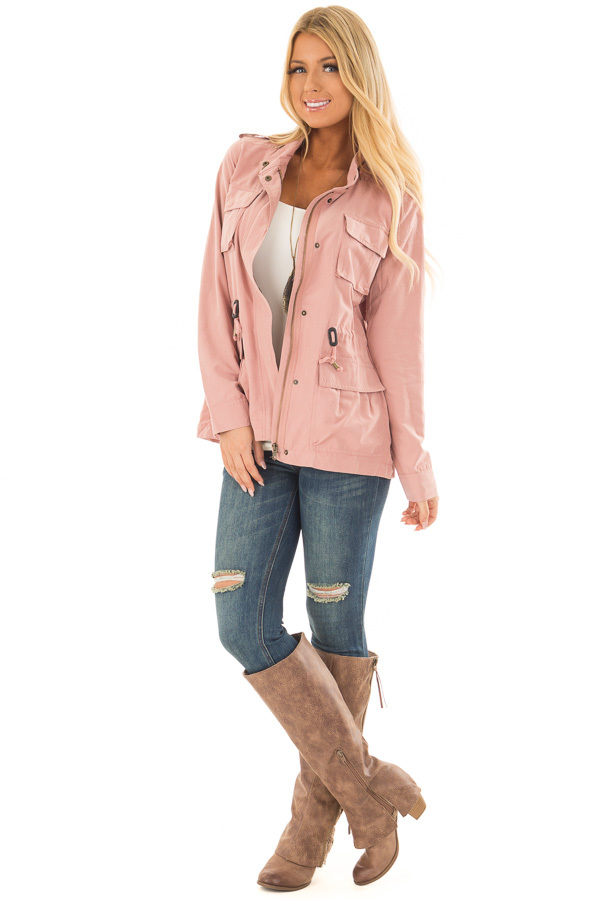 Light Pink Jacket with Waist Tie and Pockets front full body