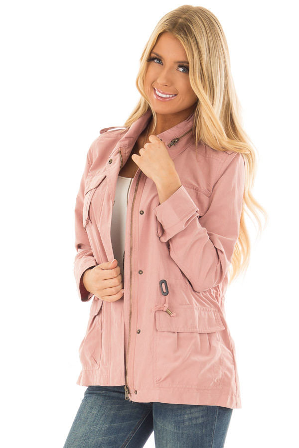 Light Pink Jacket with Waist Tie and Pockets front close up