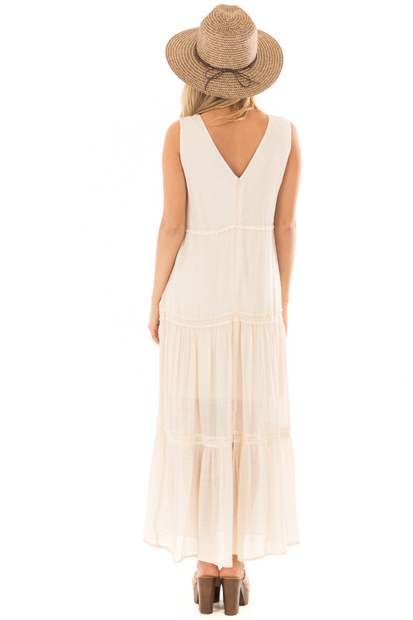 Cream Maxi Dress with Button Detail back full body