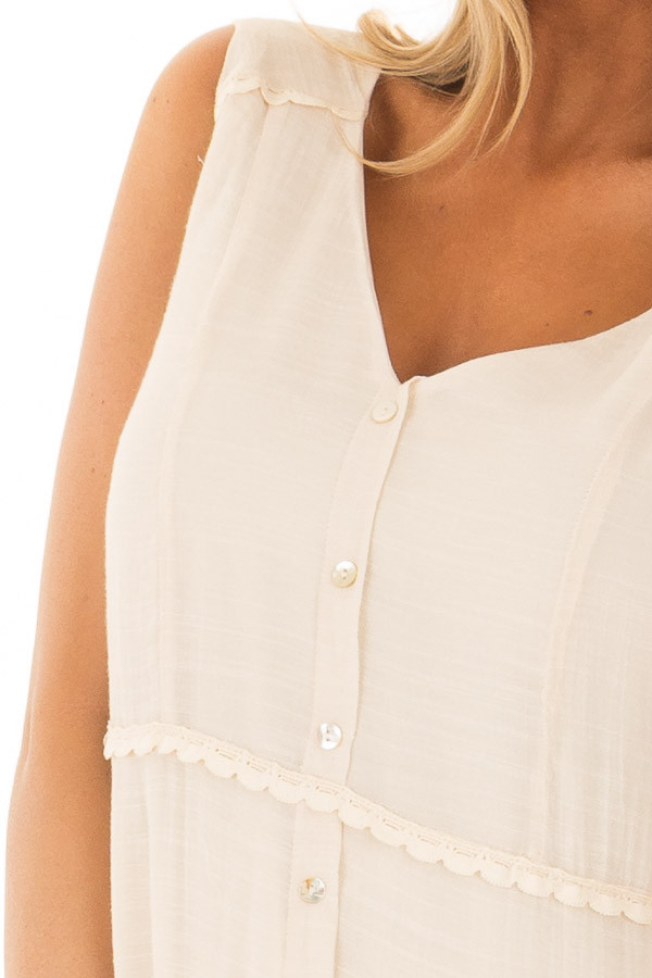 Cream Maxi Dress with Button Detail detail
