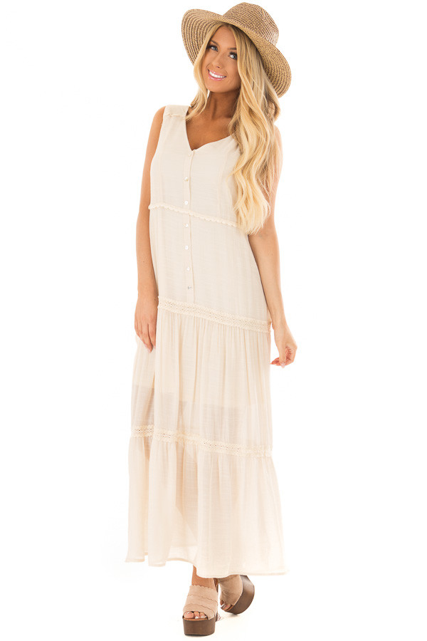 Cream Maxi Dress with Button Detail front full body