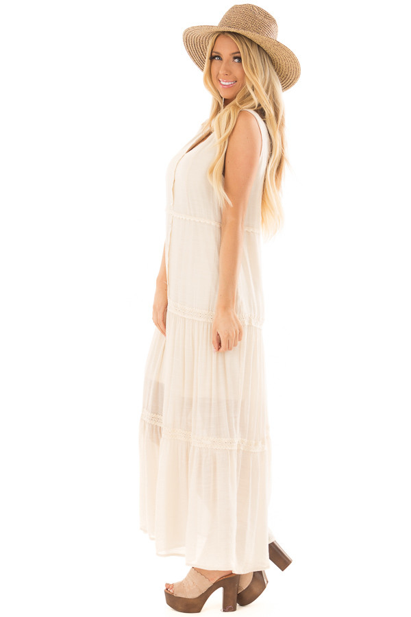 Cream Maxi Dress with Button Detail side full body