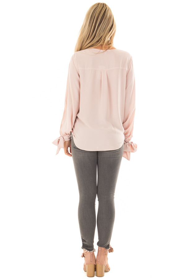 Blush Blouse with Tie Sleeve Details back full body