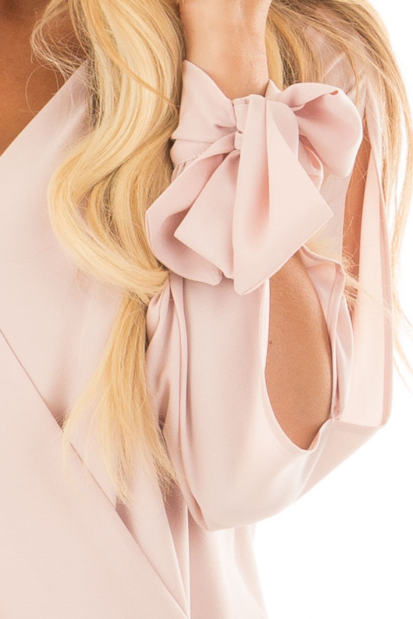 Blush Blouse with Tie Sleeve Details detail