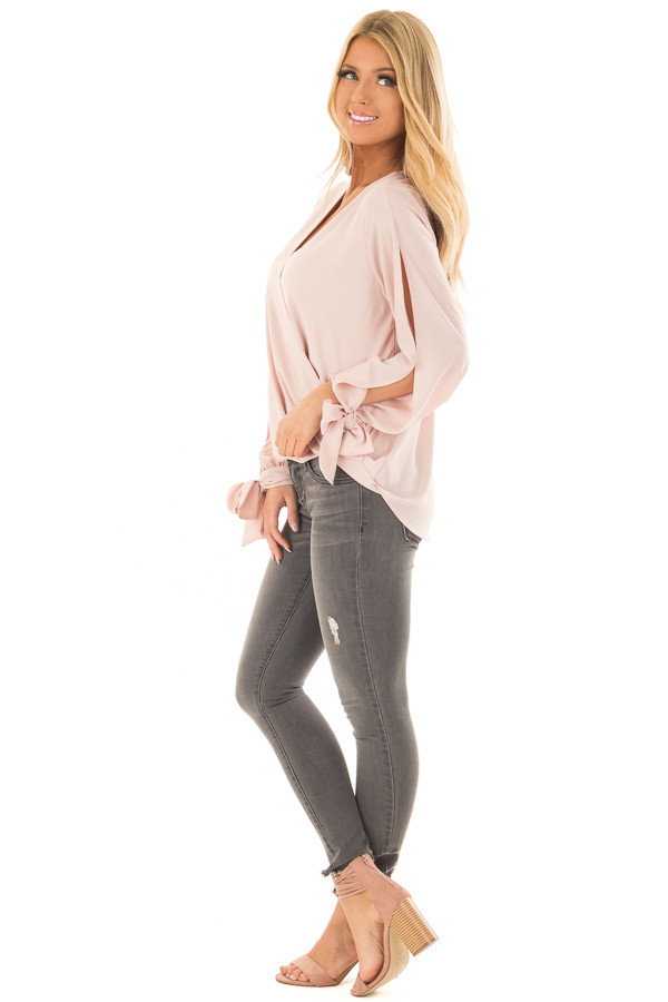 Blush Blouse with Tie Sleeve Details side full body
