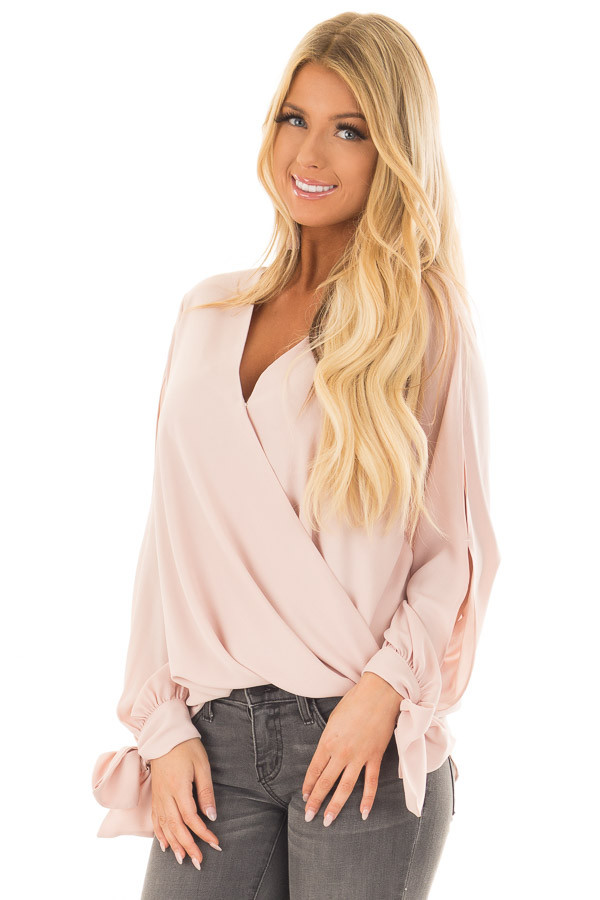 Blush Blouse with Tie Sleeve Details front close up