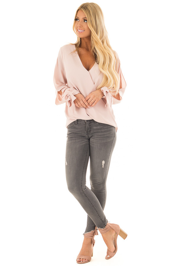 Blush Blouse with Tie Sleeve Details front full body