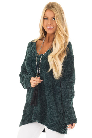 Hunter Green Super Soft V Neck Sweater front close up