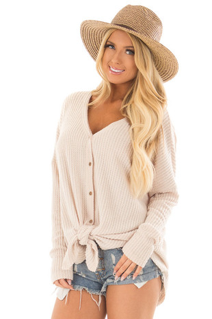 Taupe Waffle Knit Button Up Long Sleeve Top front close up