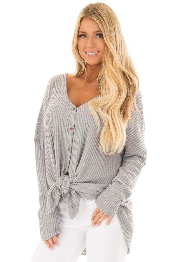 Cloud Grey Waffle Knit Button Up Long Sleeve Top front close up