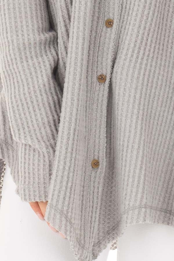 Cloud Grey Waffle Knit Button Up Long Sleeve Top detail