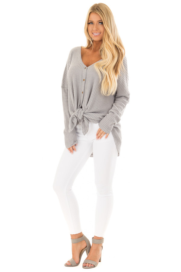Cloud Grey Waffle Knit Button Up Long Sleeve Top front full body
