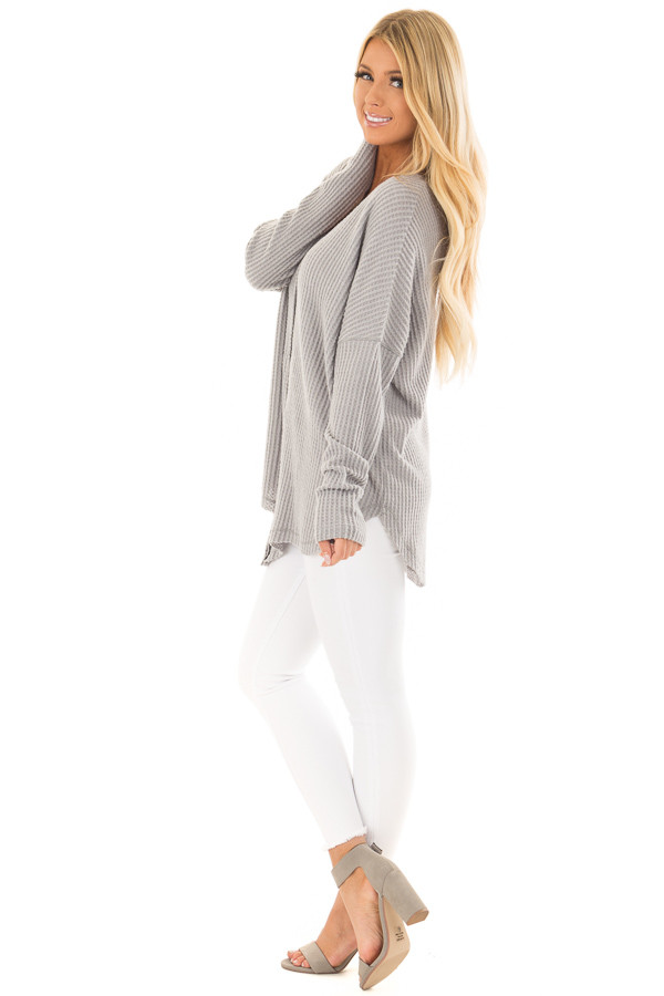 Cloud Grey Waffle Knit Button Up Long Sleeve Top side full body