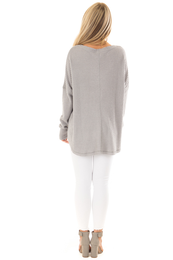 Cloud Grey Waffle Knit Button Up Long Sleeve Top back full body