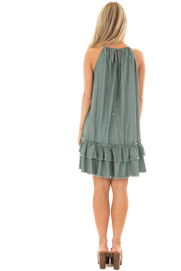 Dark Sage Halter Dress with Ruffle Detail back full body