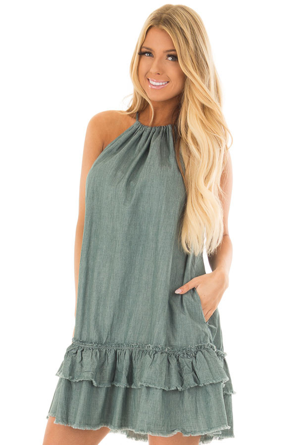 Dark Sage Halter Dress with Ruffle Detail front close up