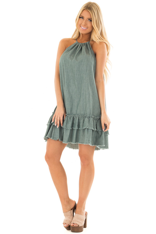 Dark Sage Halter Dress with Ruffle Detail front full body