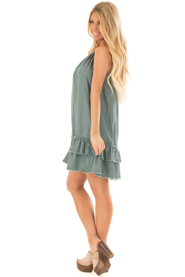 Dark Sage Halter Dress with Ruffle Detail side full body